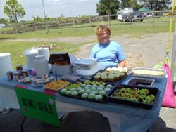 Donated baked goods were on sale to benefit the cause.